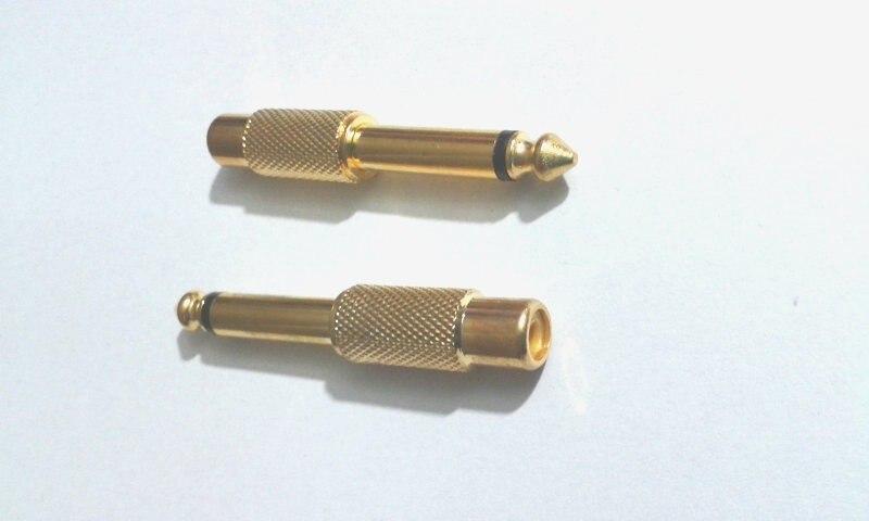 1000 قطعة مطلية بالذهب 6.35 مللي متر (1/4 بوصة) أحادية التوصيل إلى RCA Jackadapter موصل جديد