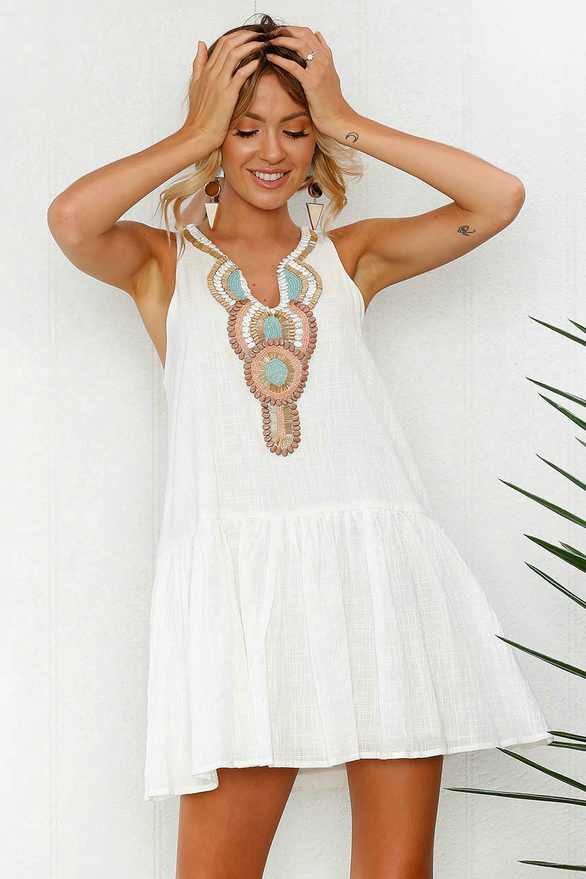 Vestido blanco sin mangas mujer verano boho botón trasero vestido 2019 sexy club casual aline playa vestido femenino