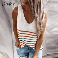 2021 new women striped slim pullover tank tops ladies daily knitted vest v neck sleeveless t shirt spring summer clothes s 3xl
