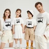 family matching outfits new personality letter fish print t shirts for fathers mothers children round neck loose casual t shirts