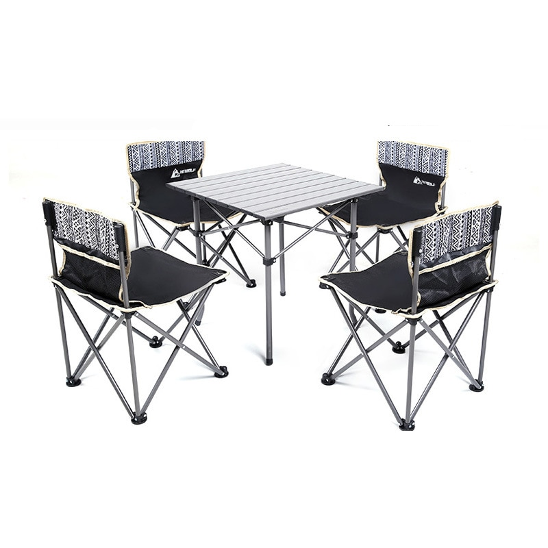 Hewolf Portable Folding Table And Chair 5-piece Storage Outdoor Camping Picnic BBQ Leisure Family Party Table And Stool Set