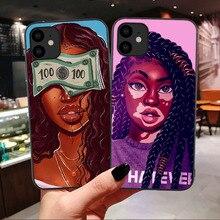 أسود الأفريقية الفن جراب هاتف آيفون 11 برو ماكس 2 بنز الميلانين بوبين غطاء سيليكون آيفون 6 6s 7 8 Plus XS Max XR X s