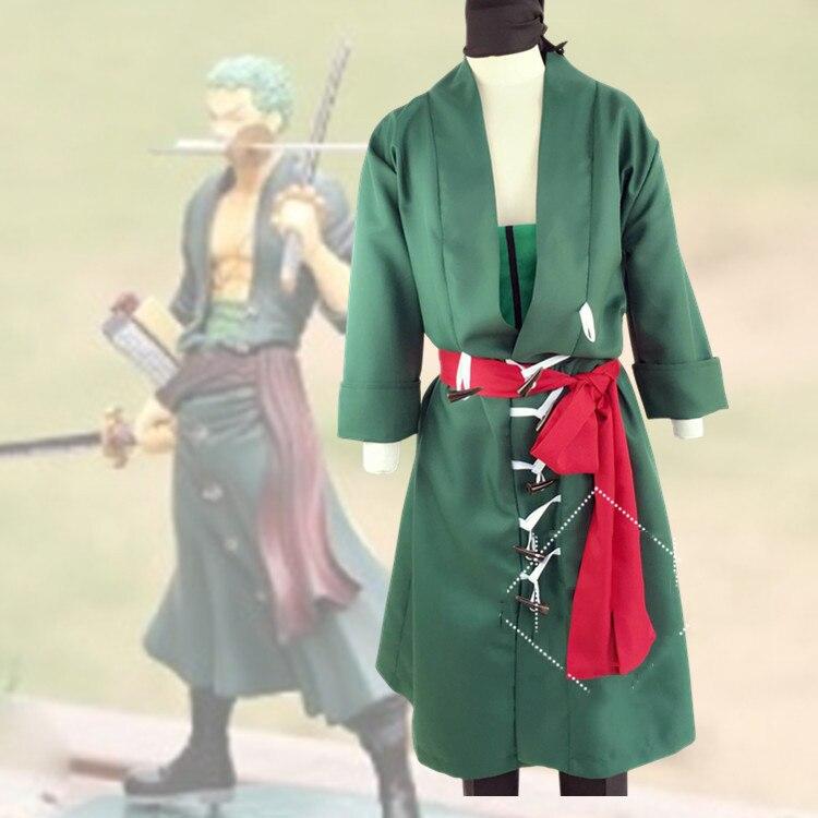 Jemmaleong roronoa zoro traje anime cosplay uma peça para os homens trajes de halloween peruca verde fantasia role play party