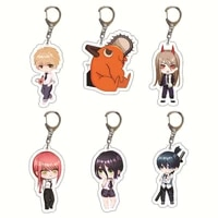 20pcslot popular manga chainsaw man anime keychain pochita power angel key chain bag pendant acrylic keyring fans collection