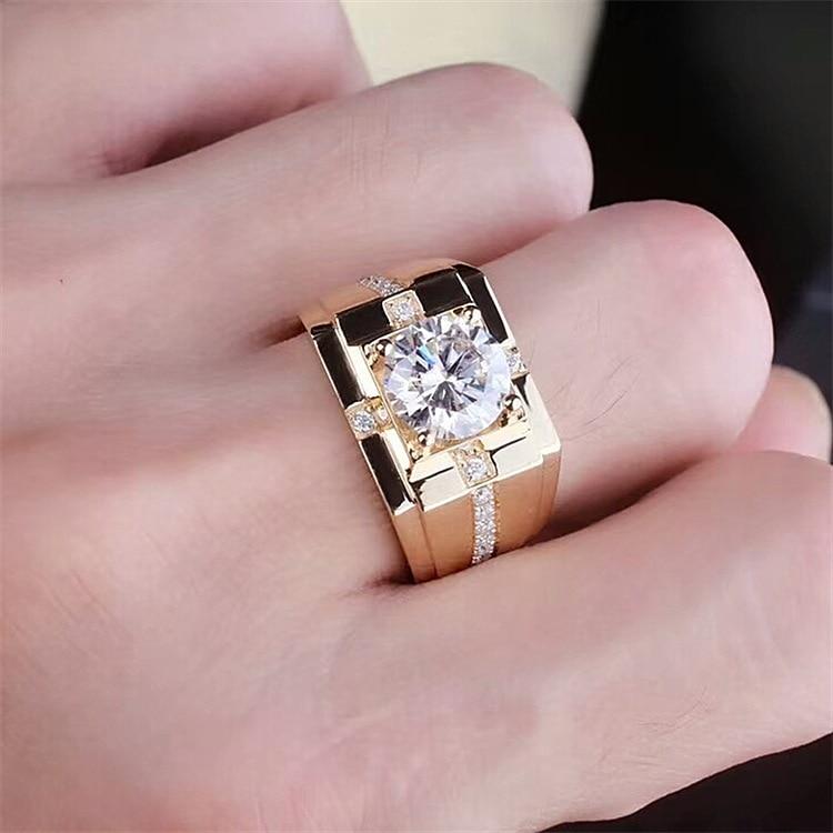 Classic high carbon zirconium open real men's diamond ring imitation Moissanite gold plated domineering wedding ring