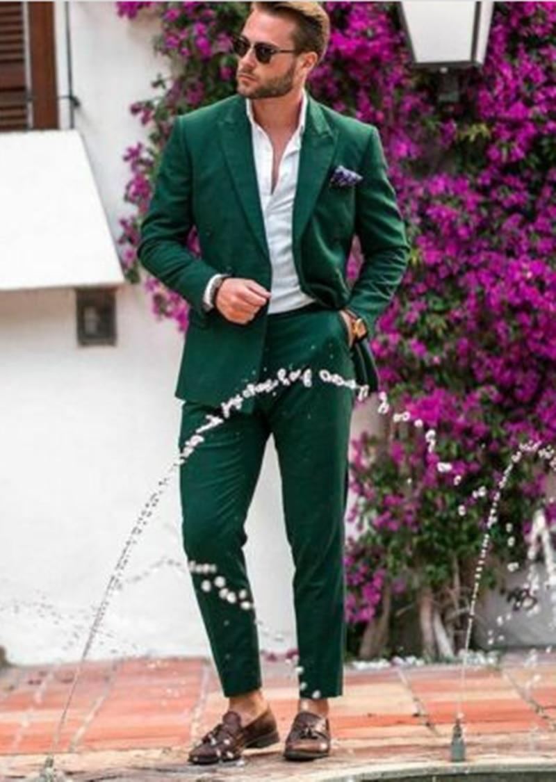 رسمي أخضر 2 قطعة (معطف + بنطلون) الذروة التلبيب مزدوجة الصدر Terno Masculino العريس ملابس زفاف البدلات الرسمية