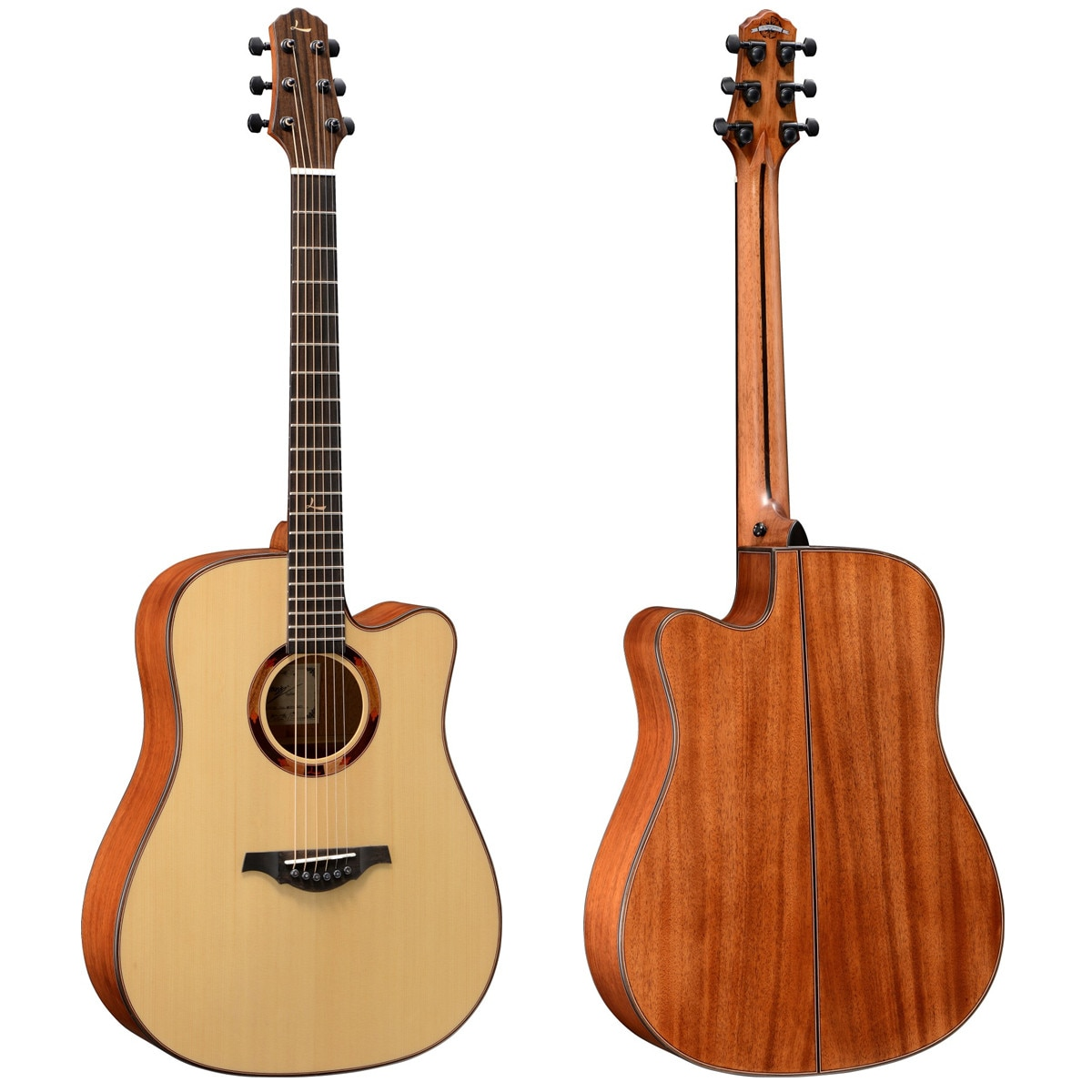 LeChant LS-DC30 Cutaway Solid Spruce Top Acoustic Guitar with Mahogany Back And Sides 41 Inches Guitarra for Practice