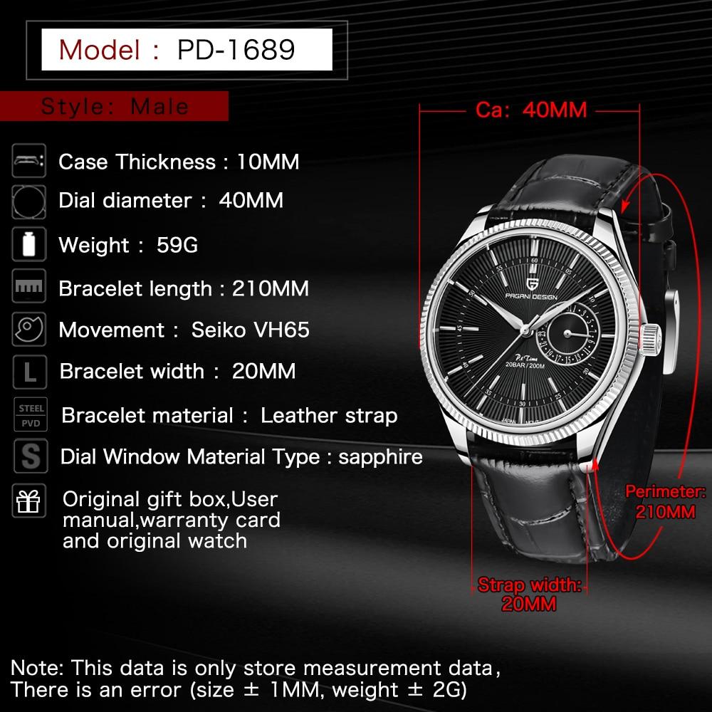 Pagani Design 2021 New Men's Fashion Quartz Watch Men's Stainless Steel Sapphire Glass 200m Waterproof Luxury Clock Reloj Hombre enlarge