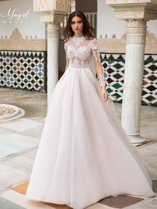 MNGRL Muslim bride Simple Retro Long Sleeve Bridal Dresses White  Lace 3D Flower Fluffy Skirt Bridal Dresses Chiffon