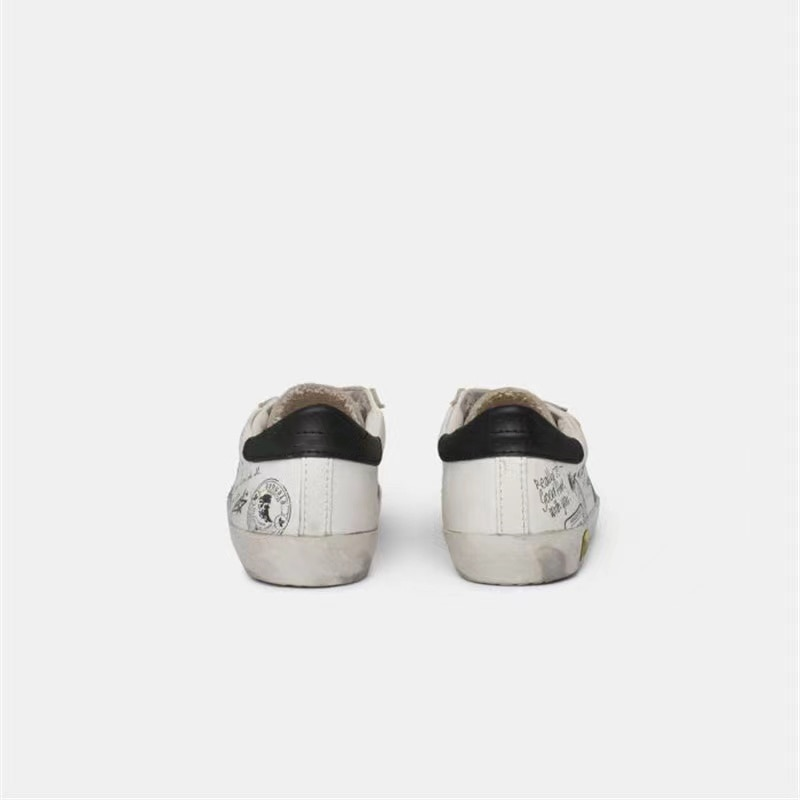 Spring and Autumn First Layer Cowhide Graffiti Old Small Dirty Children's Shoes Boys/Girls Velcro Casual Parent-child Shoes QZ14 enlarge