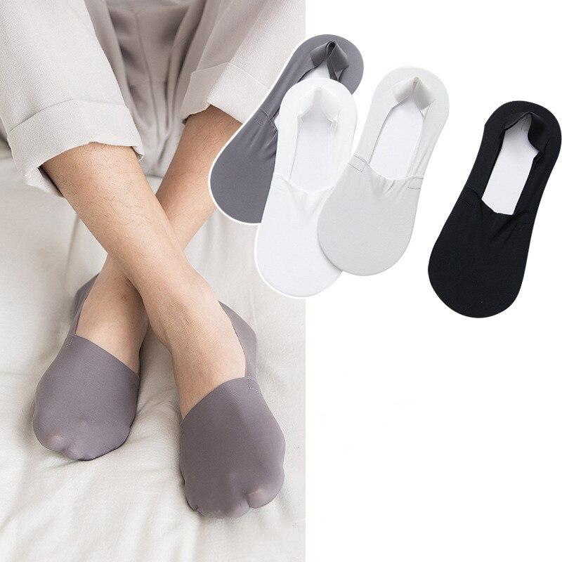 Jeseca hombres calcetines finos de verano transpirable hielo calcetín de seda para hombre Invisible sin fisuras No Show calcetines de silicona antideslizante de corte bajo barco Sox
