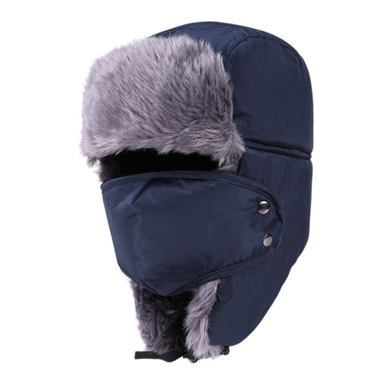 Winter Fur Hat Bomber Hats Windproof Warm Thermal Comfortable Hat Ear Flap Mask Cap For Motorcycle O