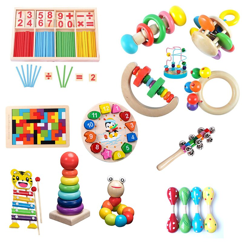 1Set Kids Montessori Wooden Toys Hammering Ball Hammer Box Children Fun Early Learning Game Toy Colo