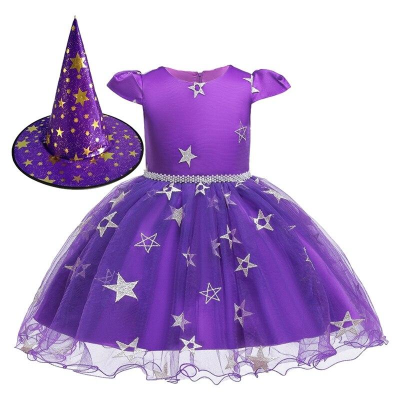 Vestido elegante bordado con estrella para niña vestido de princesa de boda y Halloween para niña