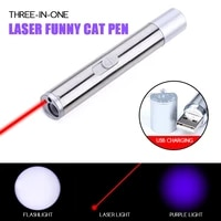 funny laser cat toy usb rechargeable purple light three in one led flashlight infrared portable lighting metal pet accessories