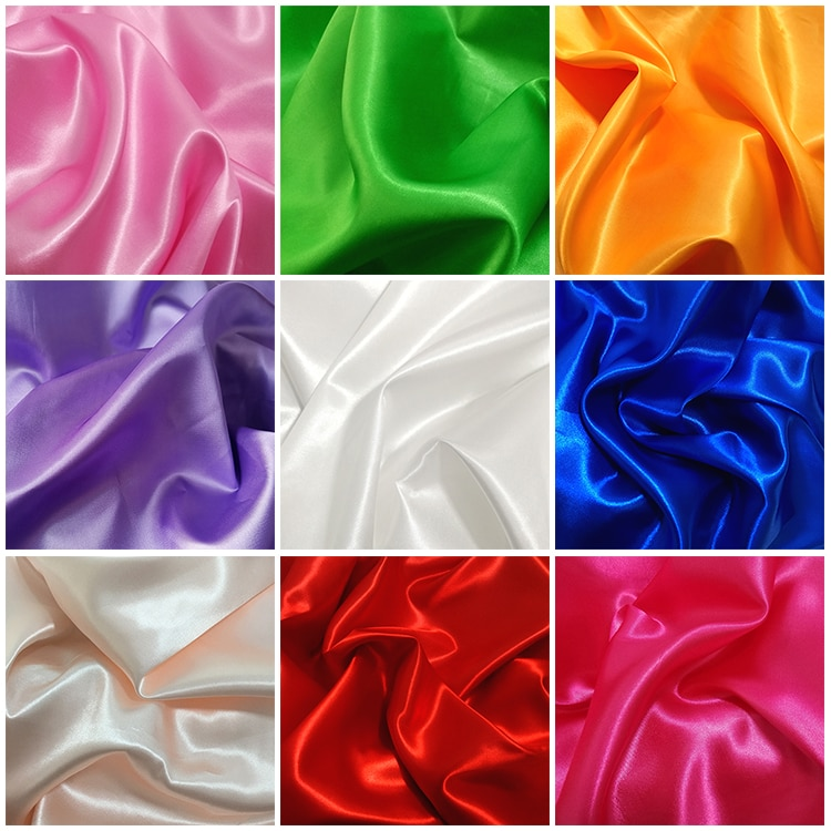 Satin fabric silk soft spandex satin for sewing vintage flowers imitate material elastic stretch