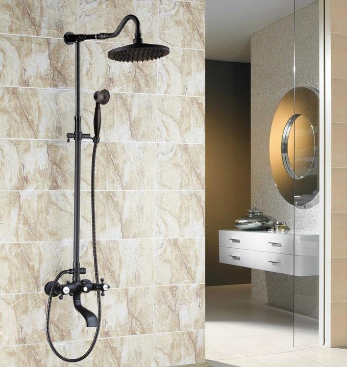 "Grifos mezcladores de ducha de baño de bronce frotado con aceite para pared 8 ""juego de grifo de ducha de baño de lluvia con boquilla de ducha de mano zhg605"