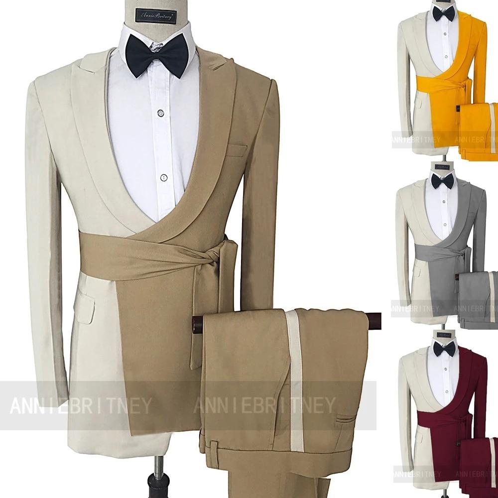 أحدث الرسمي البيج الجمل خليط حزام الرجال دعوى 2 قطعة سترة مصممة سترة الرجال بدلة الزفاف للرجال العريس سهرة السراويل
