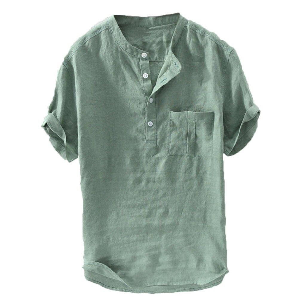 Linen Shirt Men Casual Short Sleeved Beach Shirts Breathes Cool Loose Plus Size Blouse Men Hawaiian Shirt Camisas Hombre