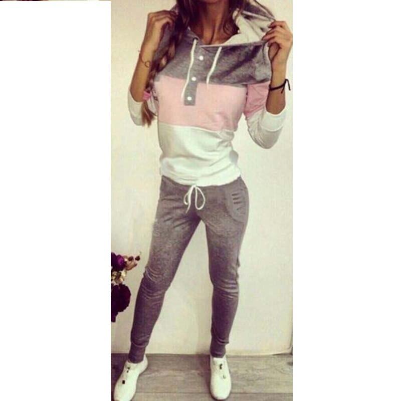 Camisa de manga larga Mujer 2 piezas conjunto chándal para mujer sudaderas con capucha + Pantalones largos estilo europeo chándal de mujer