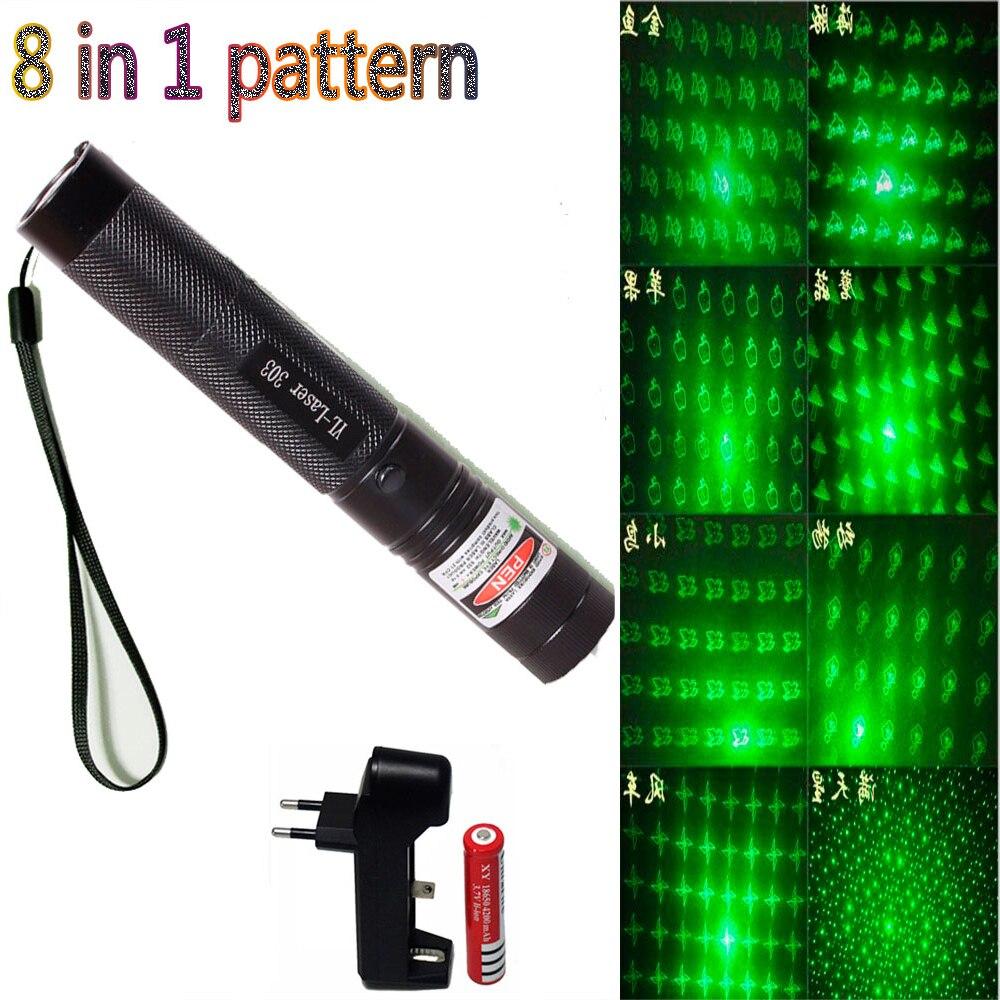 Puntero láser verde 8 en 1 punto 532nm 5mW 303 bolígrafo láser ajustable potente quemador de cabeza estrellada con batería 18650 + cargador