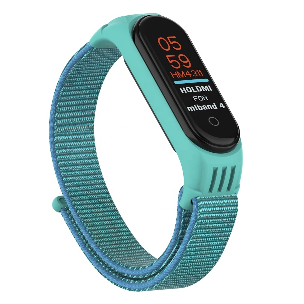 ODM holdmi 4311 سلسلة أقحوان اللون الأزرق سوار ساعة ذكية النايلون غطاء من السيليكون ل mi الفرقة 4 و 3