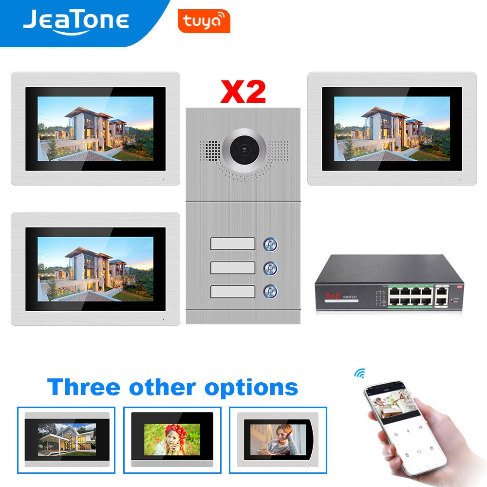 WIFI IP Video Door Phone Intercom System with 7'' Touch Screen Monitor for 3 Floors Apartment Support Tuya Smart Phone Control