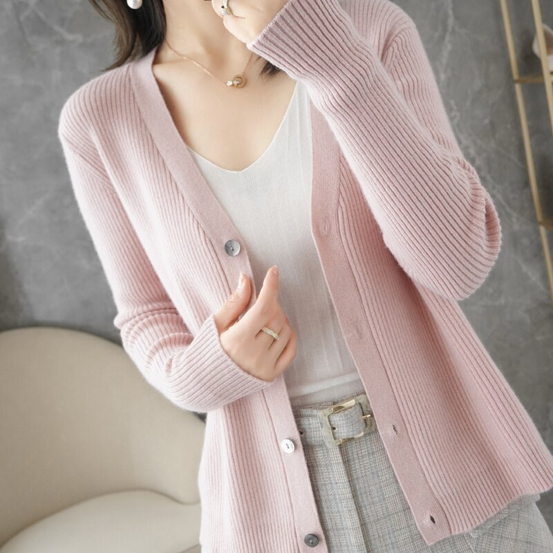Women Jackets Hot Sale 2021 New Arrival Vneck Cardigans 100% Australian Wool Long sleeve Knitwears ladies 4Colors Sweater enlarge