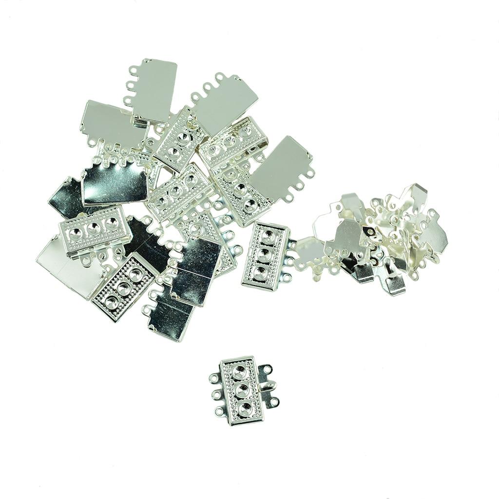 20x Filigree 3 Strand Box Clasp Necklace Bracelet Making Bulk DIY Accessory