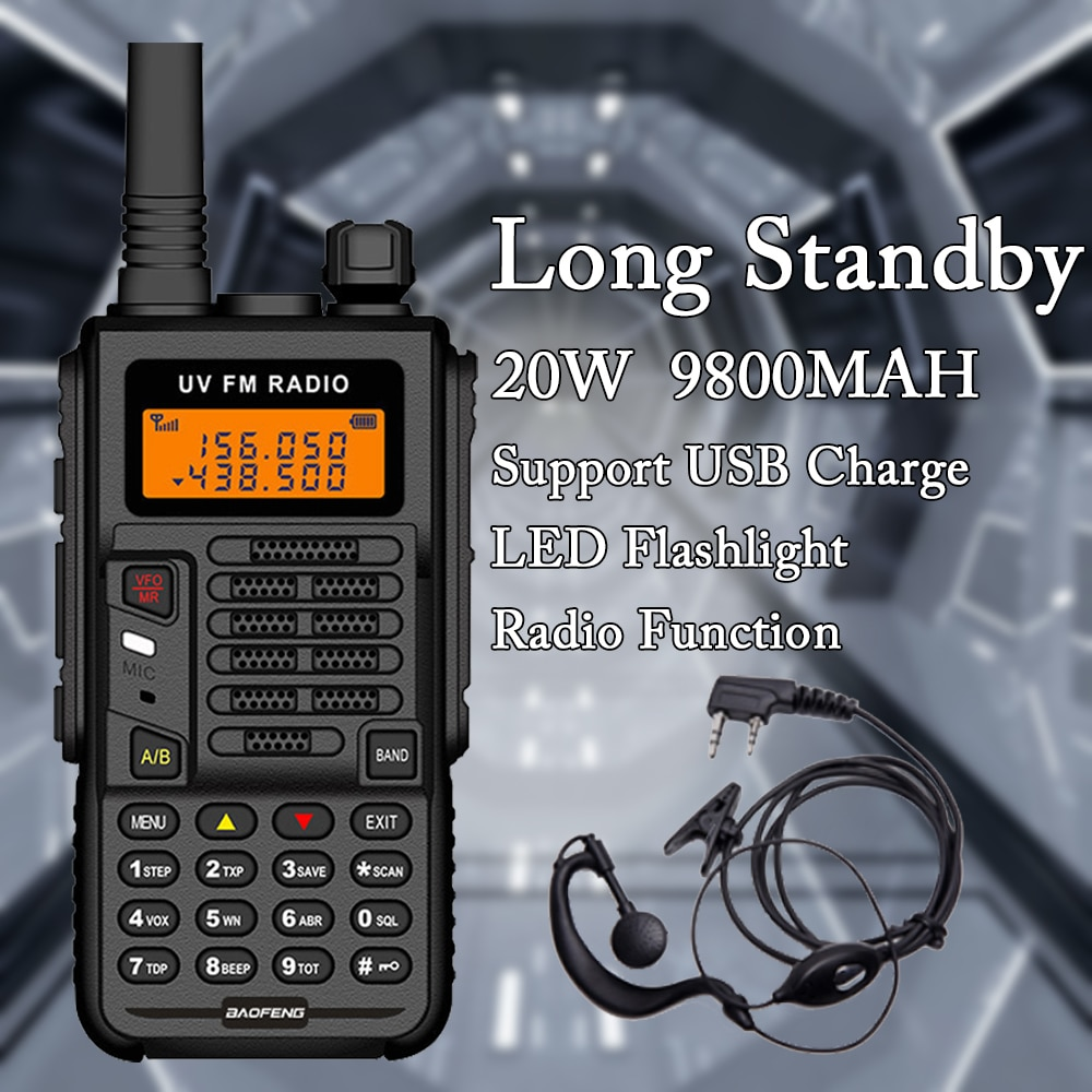 Baofeng X5 PLUS Transceiver Radio Station Powerful Walkie Talkie VHF UHF BF UV5R 20W 9800MAH Portable CB Ham Radio for Hunting