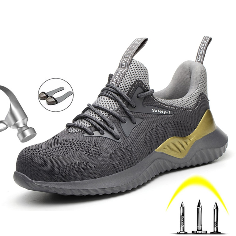 men safety shoes with boots sport work shoes for men protective steel toe cap boots work indestructible construction shoes 2020 Summer Safety Work Shoes Boots For Men Steel Toe Cap Boots Anti-Smashing Protective Construction Safety Work Sneakers