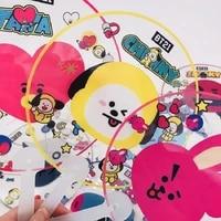 jcbtsh21bulletproof youth group kpop baby series transparent fan round transparent fan cartoon cute animal surrounding