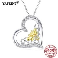 yafeini 925 sterling silver beehoneycomb necklace cubic zircon woman necklace mothers day gift graduation gift womens jewelry