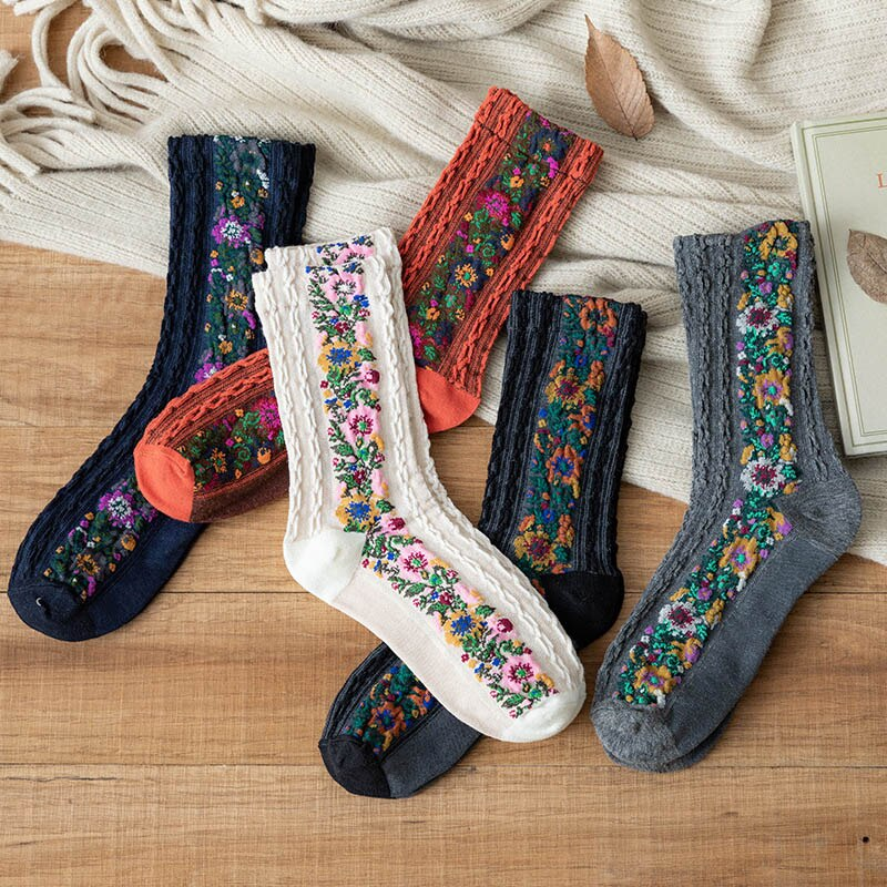 Retro Ethnic Flower Style Women's Crew Socks Set Funny Casual Harajuku Woman Cute Cotton Socks Pack