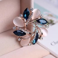 women fashion jewelry bauhinia crystal brooch pin for scarf buckle clothing accessories flowers opal brooches wedding jewelry