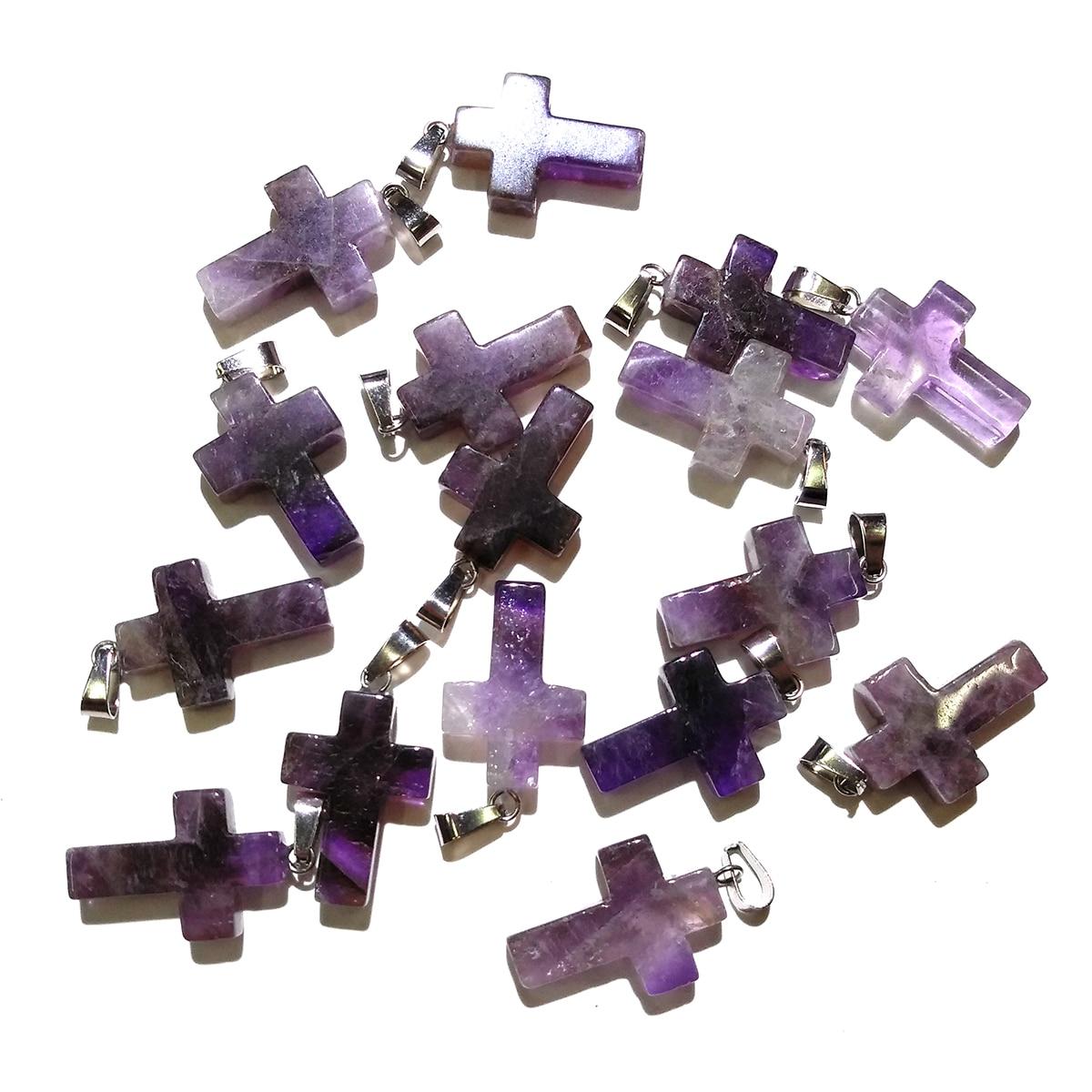 5 uds Cruz con piedra Natural forma amatistas colgantes piedra de la suerte colgante de cristal para la fabricación de joyas Diy collar Accesorios
