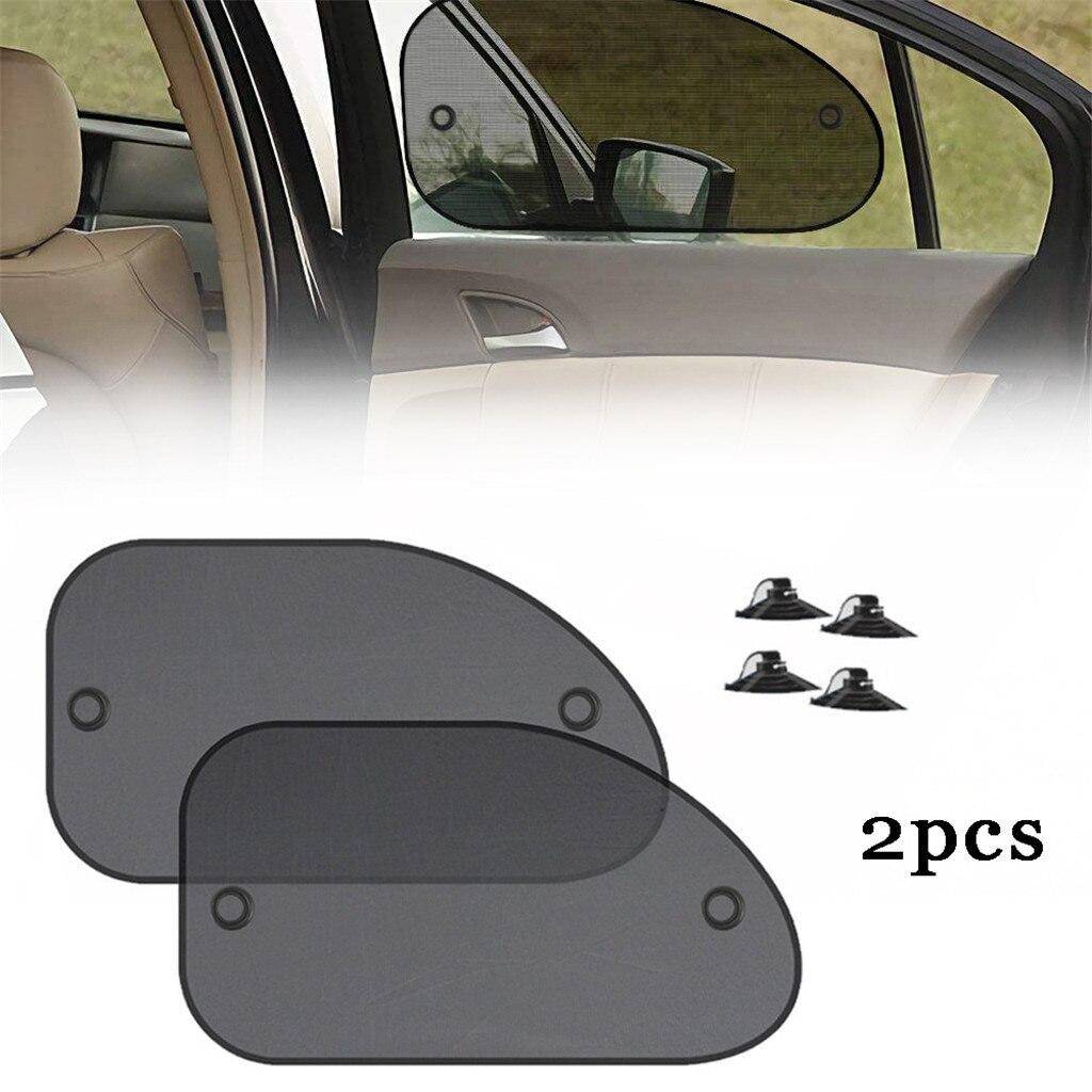 2 uds parasol para coche trasero parasol de ventana lateral de tela de malla de sol parasol cubierta escudo anti-UV Auto parasol cortina de 90808