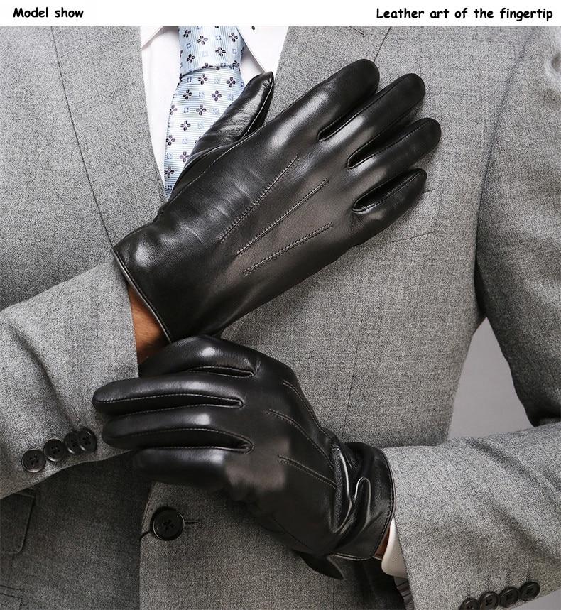 Guantes para hombre, guantes de cuero de PU de lujo para invierno, guantes para motocicleta, dedos completos para conducir guantes cálidos de Cachemira, mitones #5 $
