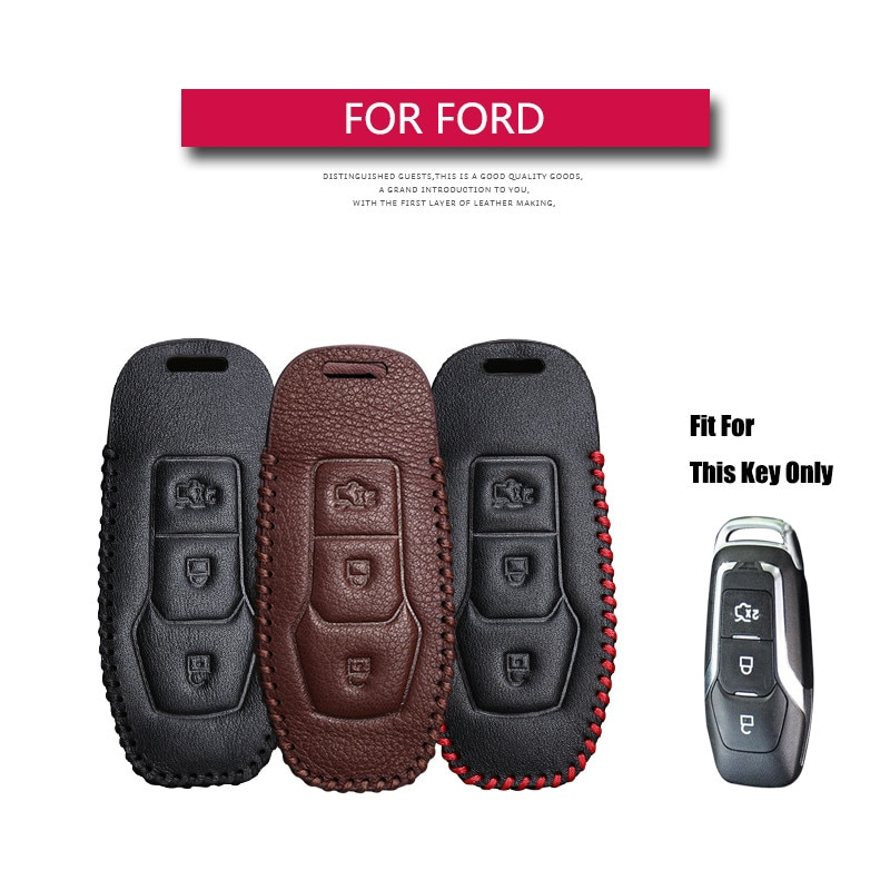 Funda de cuero para llave de coche para Ford Mondeo Explorer 5 Mustang F-150 Galaxy S C Max Explorer Ranger MK3 MK4 MK5 Fiesta F15 Edge