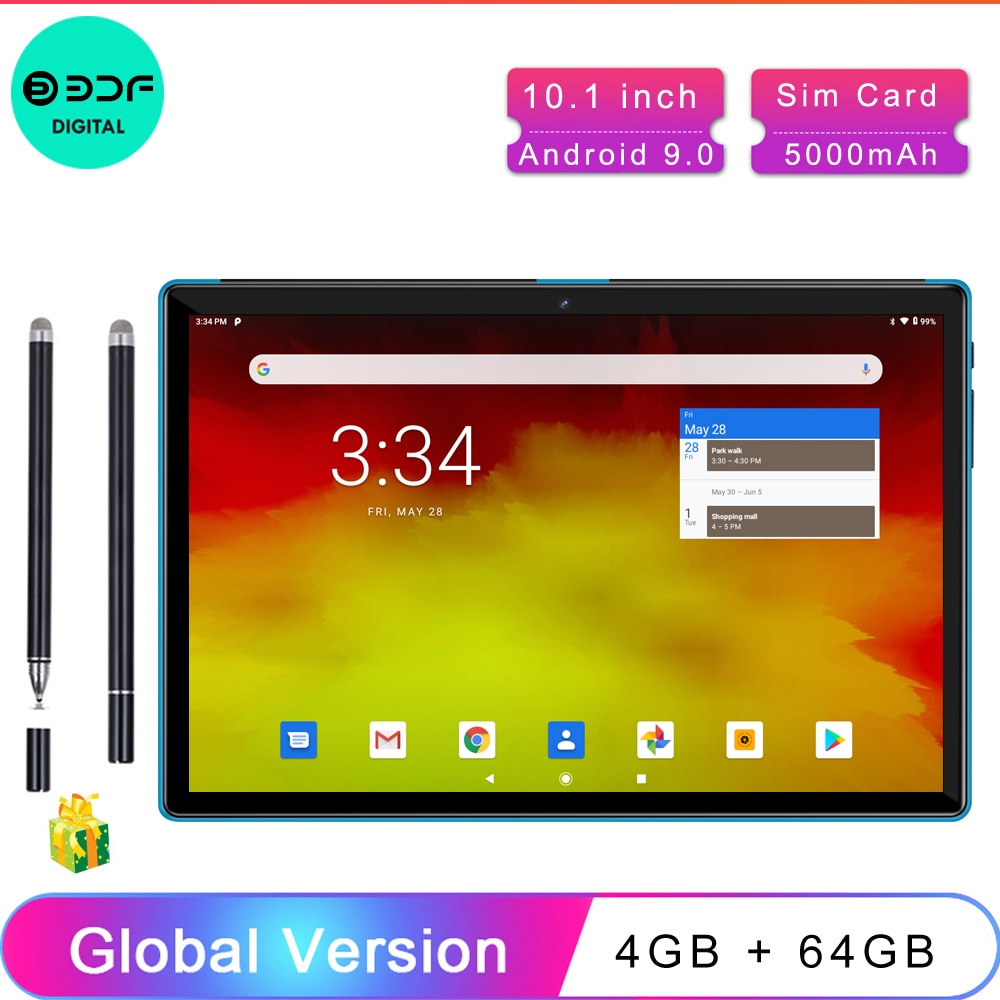 10.1 Inch Tablets Android 9.0 4GB + 64GB 4G Phone Call Smart Pc Android Tablet Android, Tablet Phone,Android tablette,Touch Pen