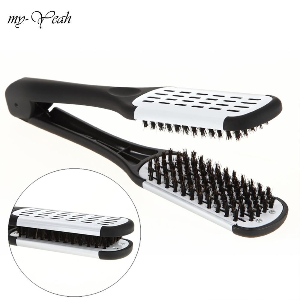 Профессиональный парикмахерский выпрямитель для волос, нейлоновые двойные щетки для выпрямления волос, v-образная Расческа с зажимом, не повреждает Инструменты для укладки DIY Home