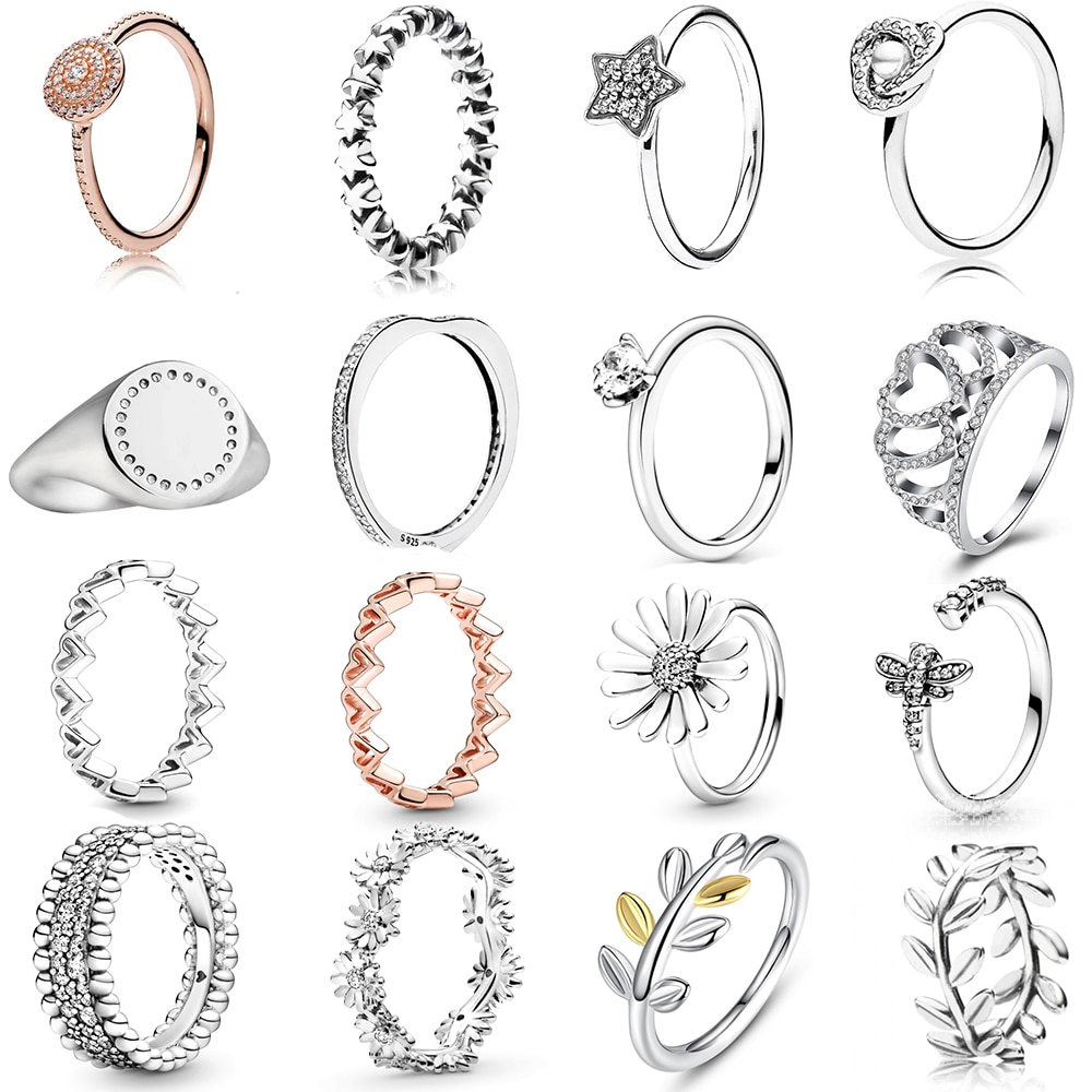 NEUE 2020 100% 925 Sterling Silber Frühling Perlen Daisy Blume Crown Ring Fit Europäischen Frauen Luxus Original Mode Schmuck Geschenk