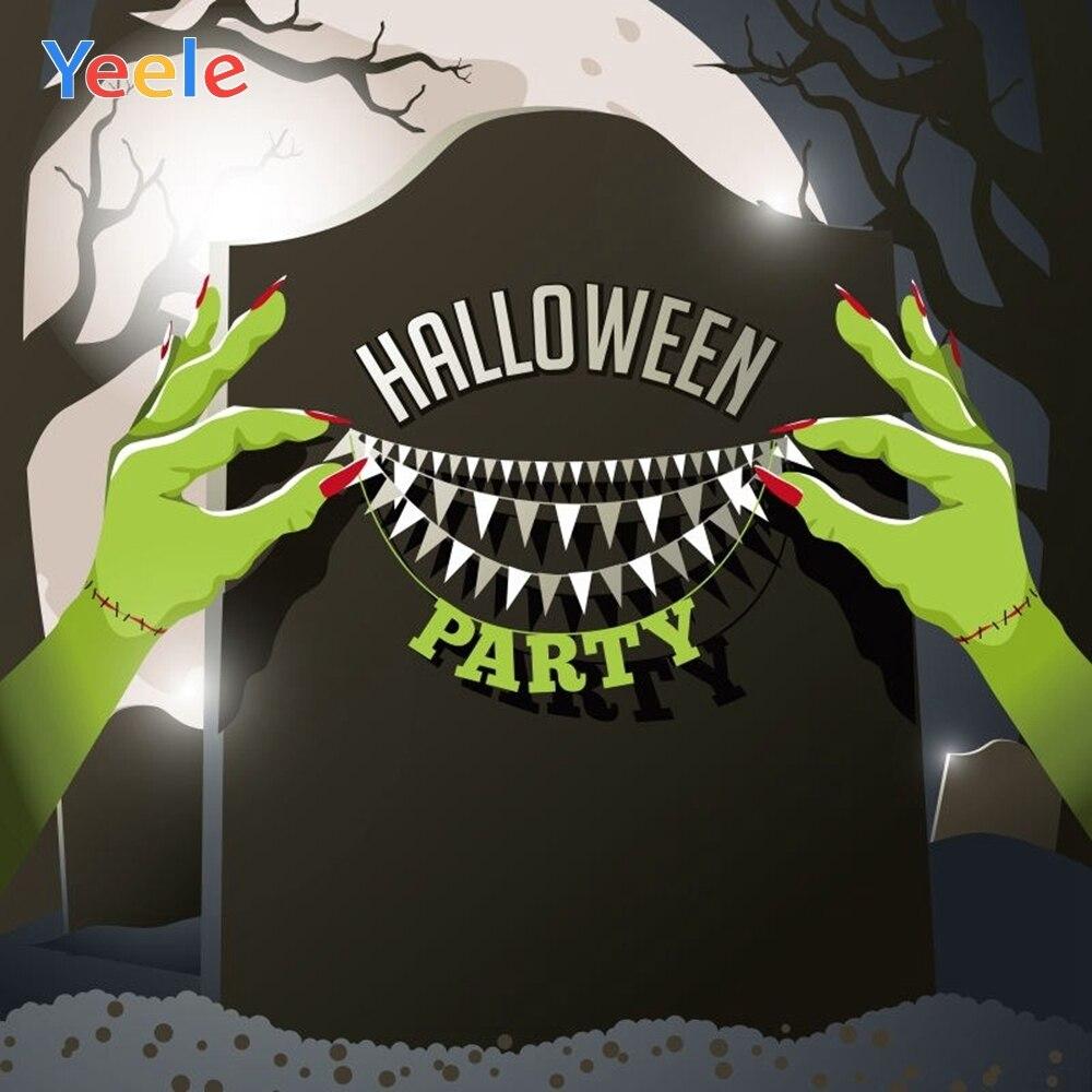 Yeele Halloween Lápide de Cenário Bat Mão Lua Noite Trick Or Treat Personalizada Fotografia Vinil pano de Fundo Para Photo Studio