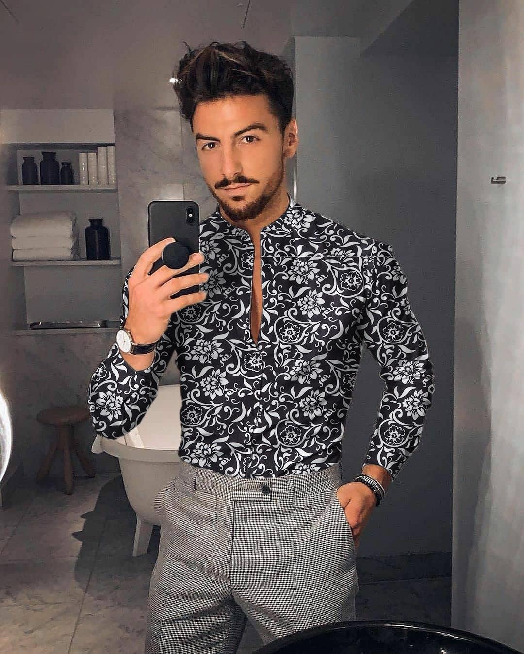 Мужская длинная рубашка с цветочным принтом, приталенная рубашка с длинным рукавом, мужская кофта с цветочным принтом, новинка 2021