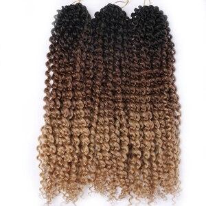 Косички для вязания крючком, синтетические Кудрявые Волнистые волосы, 18 дюймов, Омбре, плетеные волосы, удлинители, 22 пряди/шт., завитые, коричневые, светлые