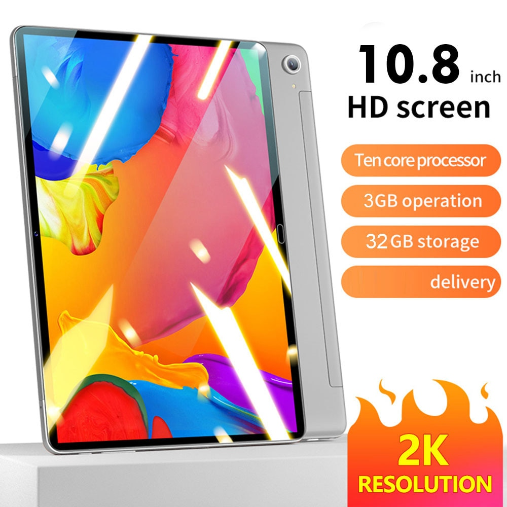 Tablet Android 10.0 MTK6797 2.0GHz CPU 10.8 Inch Tablet 3GB+32GB 2560x1600IPS Screen Support BT 5.0 WiFi 7000mA Battery Capacity