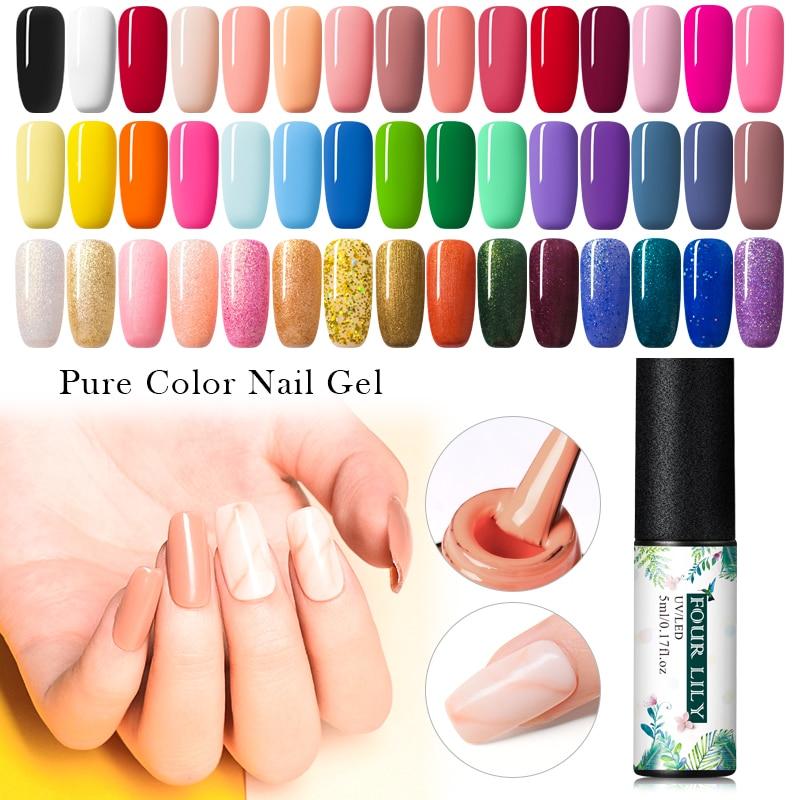 Esmalte de uñas de cuatro lirios Uv Led para manicura pura/brillo Gel laca Semi permanente Gel pintura arte de uñas Diy herramienta de diseño