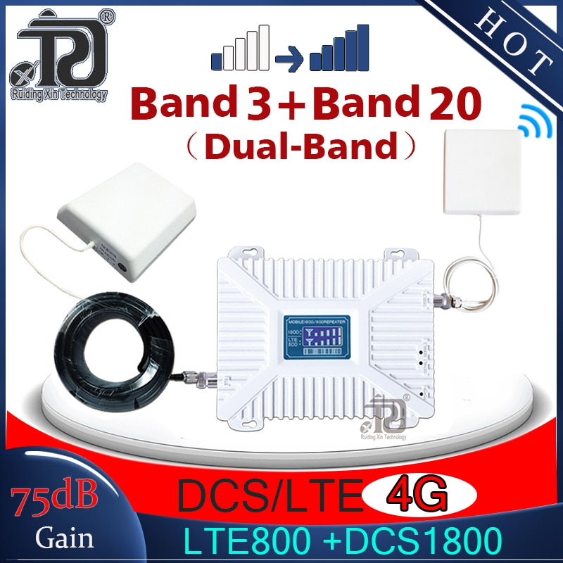 75dB Gain Cellular Amplier LTE800(Band20) 1800mhz LTE Dual-Band LTE 800 4G Signal booster 4G Mobile