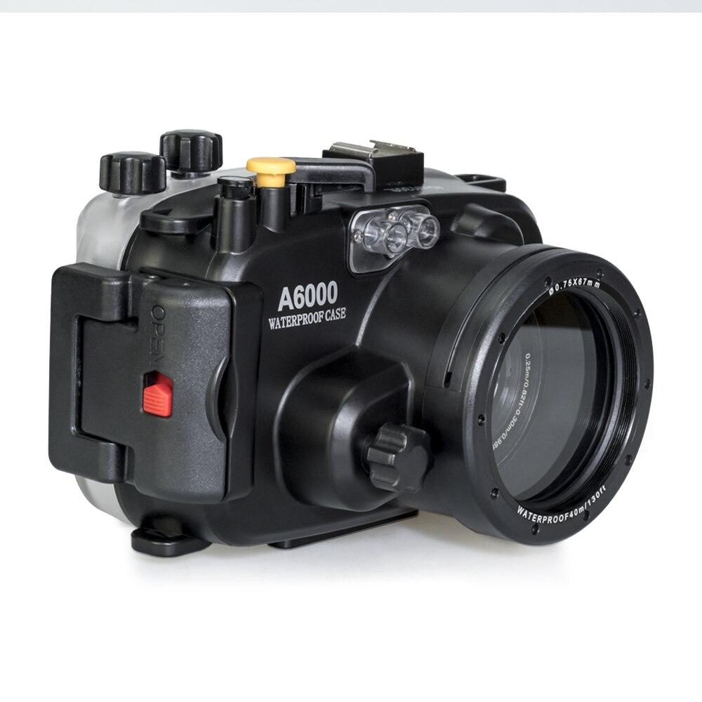 Searogs A6000 40 متر تحت الماء الغوص كاميرا مقاومة للماء الإسكان الحال بالنسبة لسوني كاميرا A6000 كاميرا الملحقات