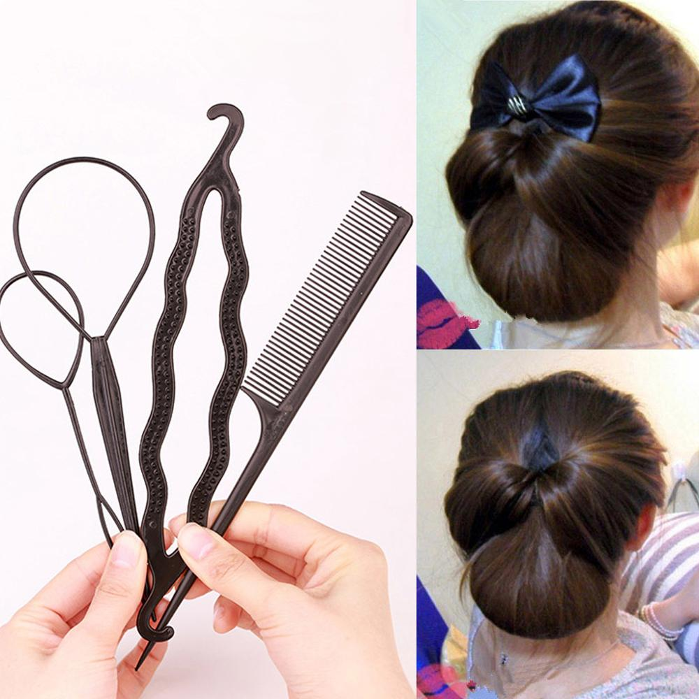 Fashion Salon 2-4pcs/set Women Girls Ponytail Creator Plastic Loop Pony Tail Clip Hair Braid Accesso
